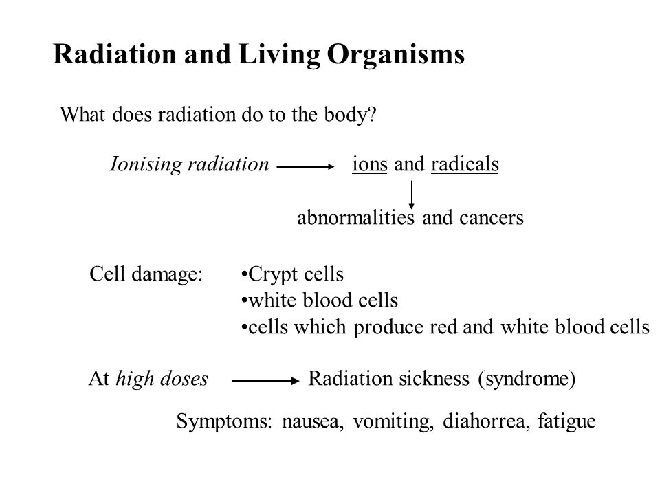 Radiation and Living Organisms What does radiation do to the body? Ionising radiation ions and radicals abnormalities and cancers At high doses Radiat