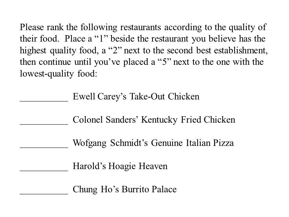 Please rank the following restaurants according to the quality of their food. Place a 1 beside the restaurant you believe has the highest quality food