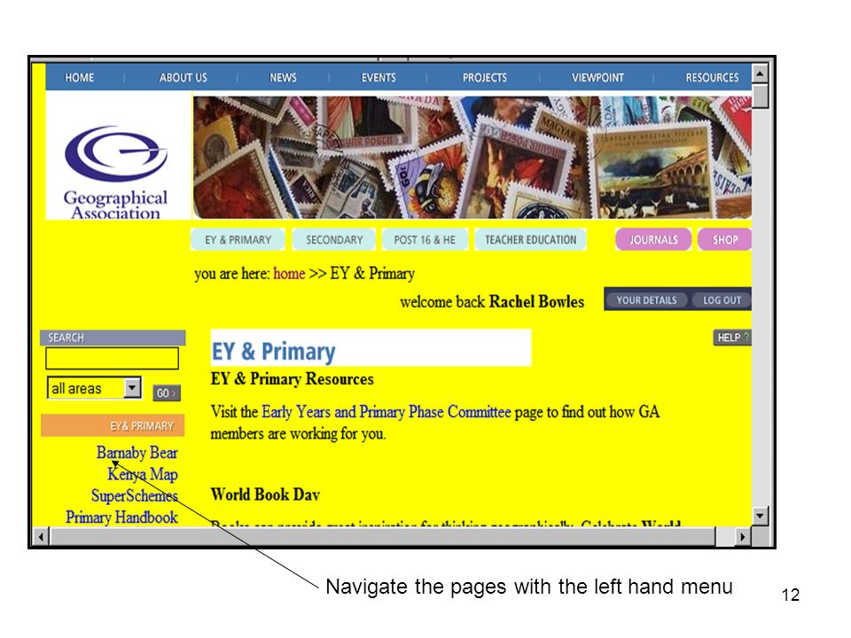 12 Navigate the pages with the left hand menu