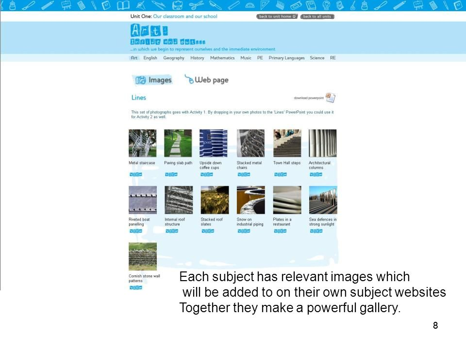 88 Each subject has relevant images which will be added to on their own subject websites Together they make a powerful gallery.