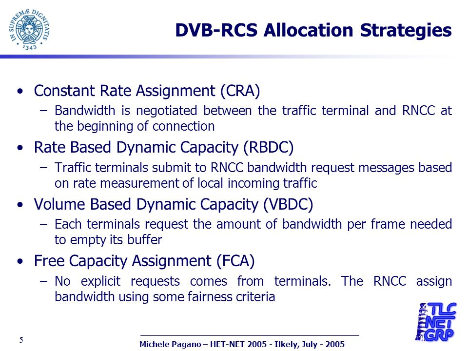 Michele Pagano – HET-NET 2005 - Ilkely, July - 2005 5 DVB-RCS Allocation Strategies Constant Rate Assignment (CRA) –Bandwidth is negotiated between th