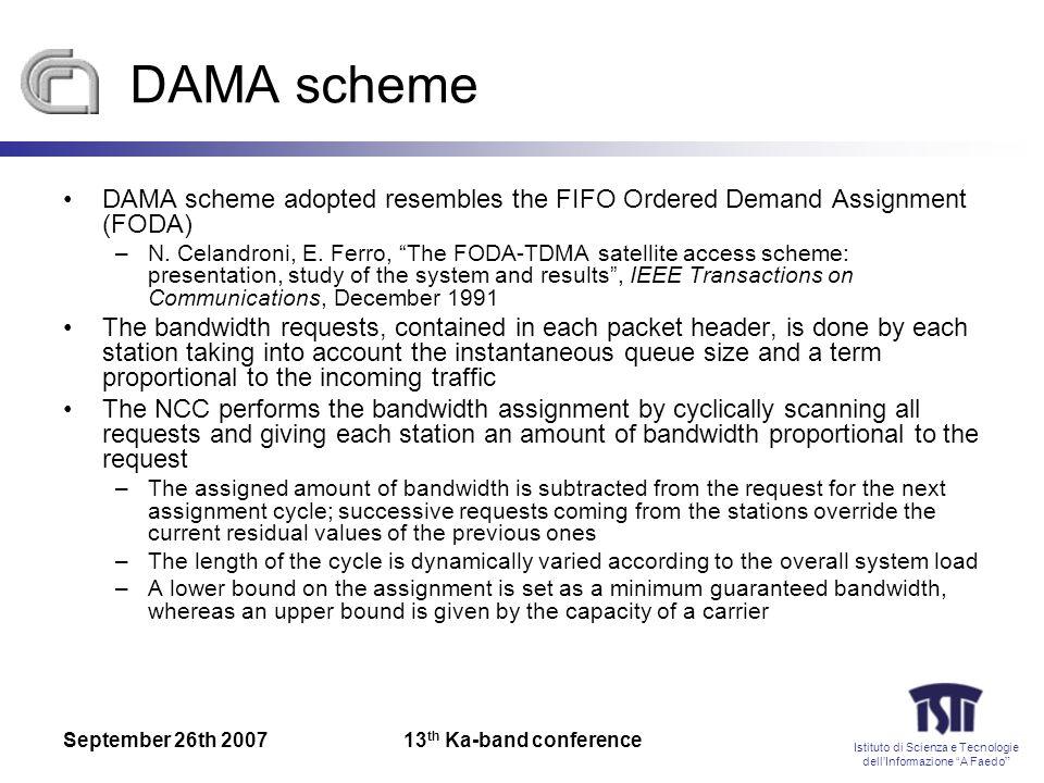 Istituto di Scienza e Tecnologie dellInformazione A Faedo September 26th 200713 th Ka-band conference DAMA scheme DAMA scheme adopted resembles the FIFO Ordered Demand Assignment (FODA) –N.