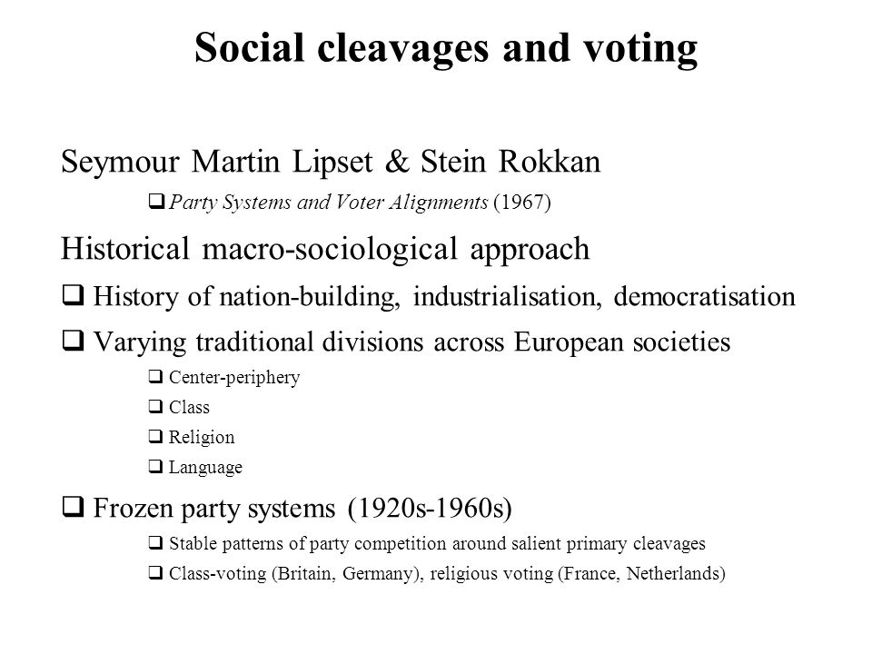 Social cleavages and voting Seymour Martin Lipset & Stein Rokkan Party Systems and Voter Alignments (1967) Historical macro-sociological approach Hist