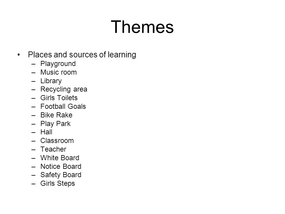 Themes Places and sources of learning –Playground –Music room –Library –Recycling area –Girls Toilets –Football Goals –Bike Rake –Play Park –Hall –Classroom –Teacher –White Board –Notice Board –Safety Board –Girls Steps