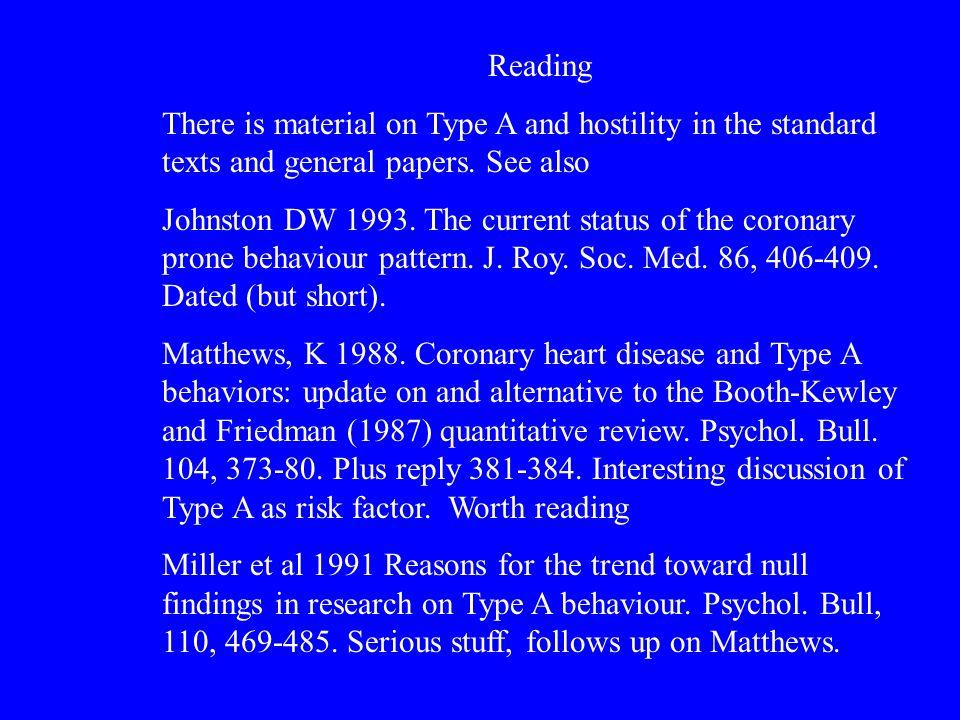 reading (cont.) Miller TQ et al, 1996.