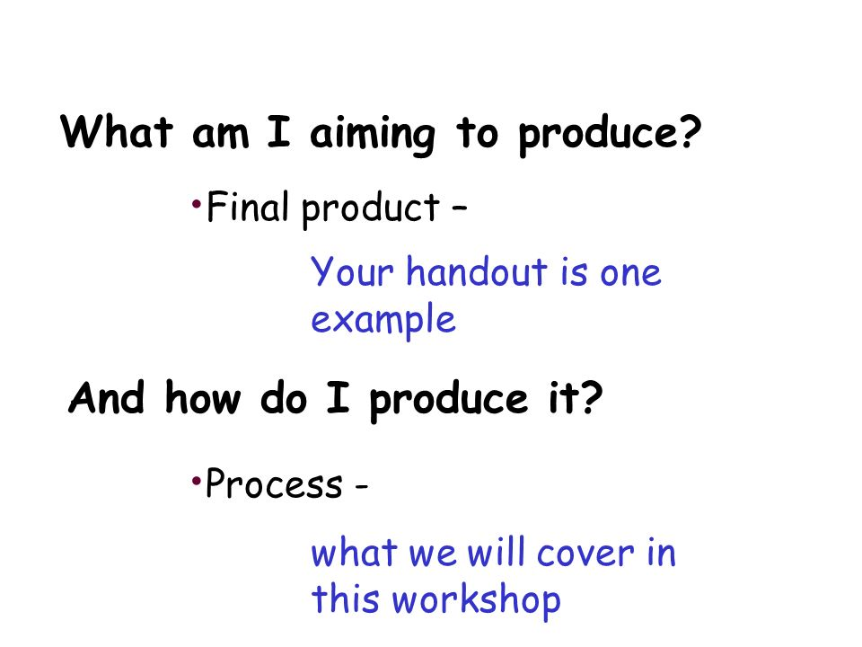 What am I aiming to produce. Final product – Process - And how do I produce it.