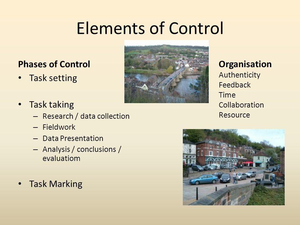 Elements of Control Phases of Control Task setting Task taking – Research / data collection – Fieldwork – Data Presentation – Analysis / conclusions / evaluatiom Task Marking Organisation Authenticity Feedback Time Collaboration Resource
