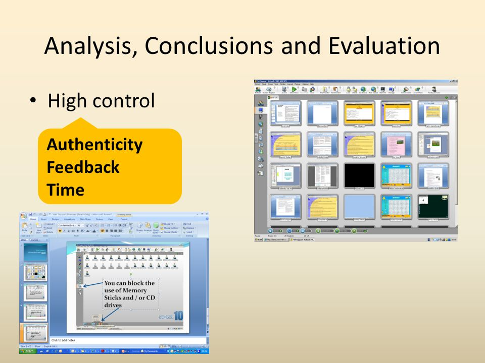 Analysis, Conclusions and Evaluation High control Authenticity Feedback Time
