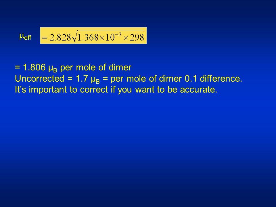 eff = 1.806 µ B per mole of dimer Uncorrected = 1.7 µ B = per mole of dimer 0.1 difference.