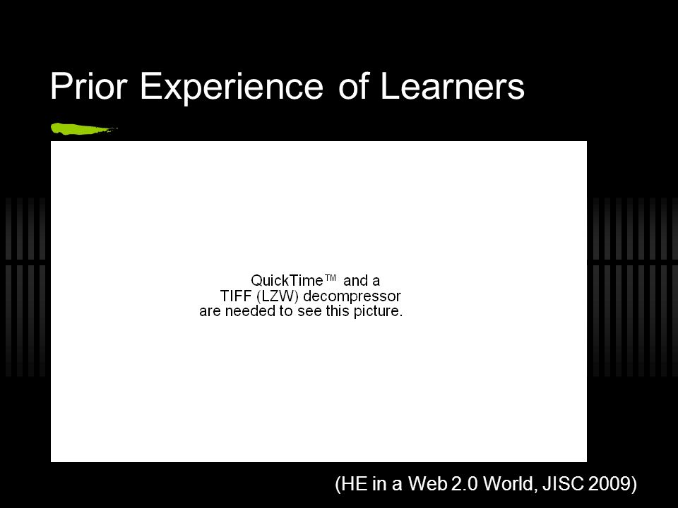 Prior Experience of Learners (HE in a Web 2.0 World, JISC 2009)