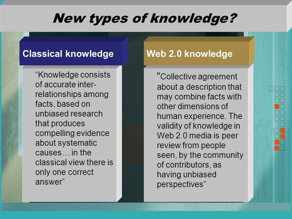 New types of knowledge.