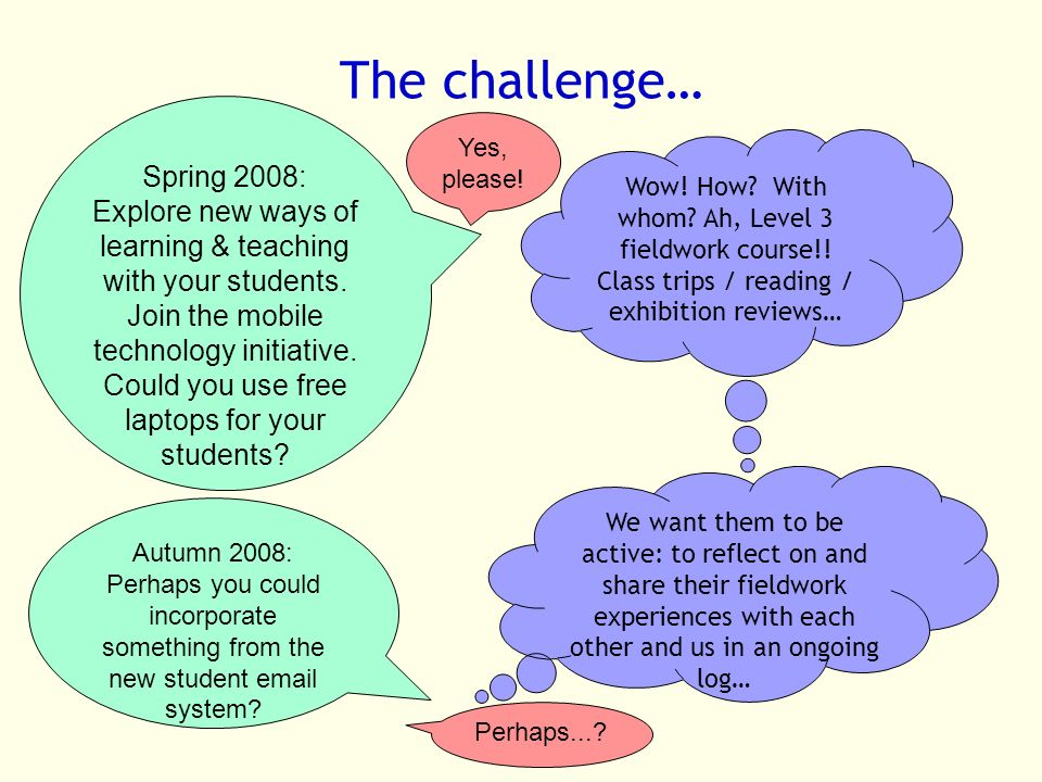 The challenge… Spring 2008: Explore new ways of learning & teaching with your students.