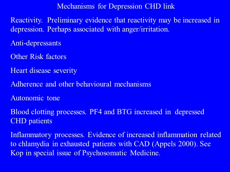 Mechanisms for Depression CHD link Reactivity.