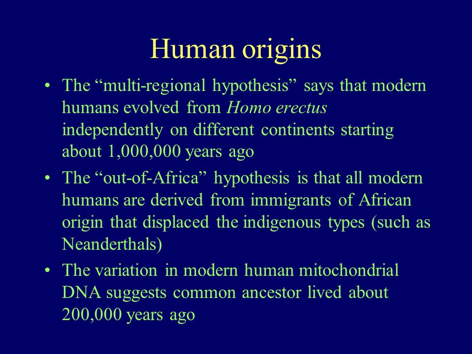 Human origins The multi-regional hypothesis says that modern humans evolved from Homo erectus independently on different continents starting about 1,0