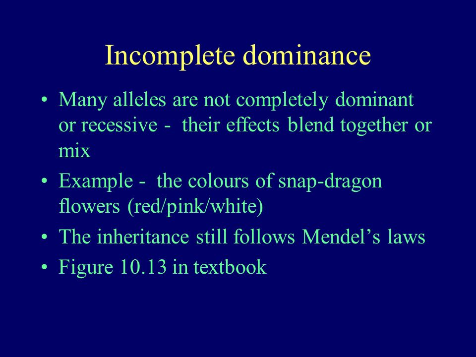 Incomplete dominance Many alleles are not completely dominant or recessive - their effects blend together or mix Example - the colours of snap-dragon flowers (red/pink/white) The inheritance still follows Mendels laws Figure 10.13 in textbook
