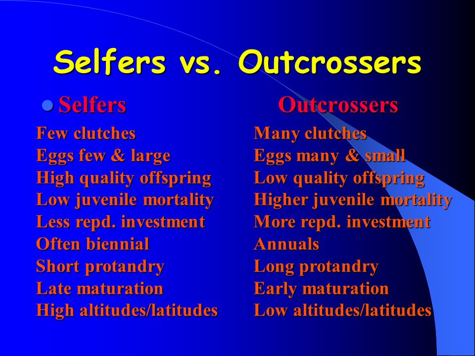 Selfers vs. Outcrossers SelfersOutcrossers SelfersOutcrossers Few clutches Eggs few & large High quality offspring Low juvenile mortality Less repd. i
