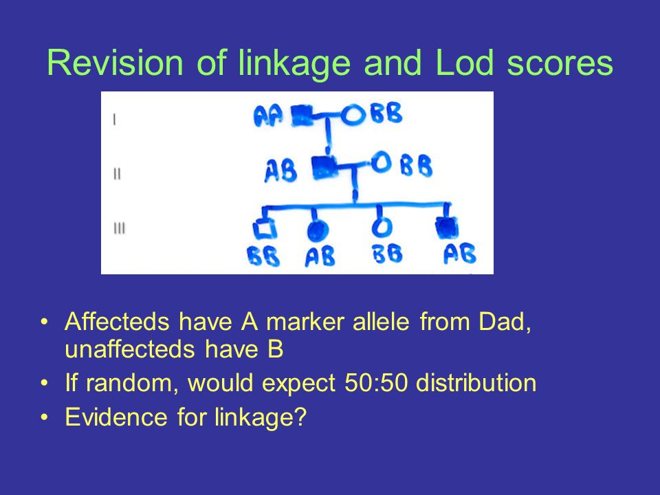 Revision of linkage and Lod scores Affecteds have A marker allele from Dad, unaffecteds have B If random, would expect 50:50 distribution Evidence for linkage?