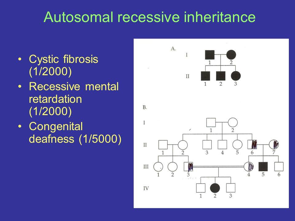 Autosomal recessive inheritance Cystic fibrosis (1/2000) Recessive mental retardation (1/2000) Congenital deafness (1/5000)