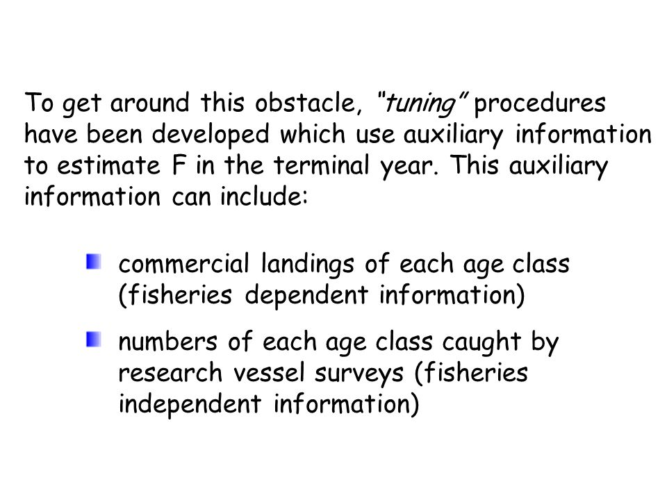 To get around this obstacle, tuning procedures have been developed which use auxiliary information to estimate F in the terminal year. This auxiliary