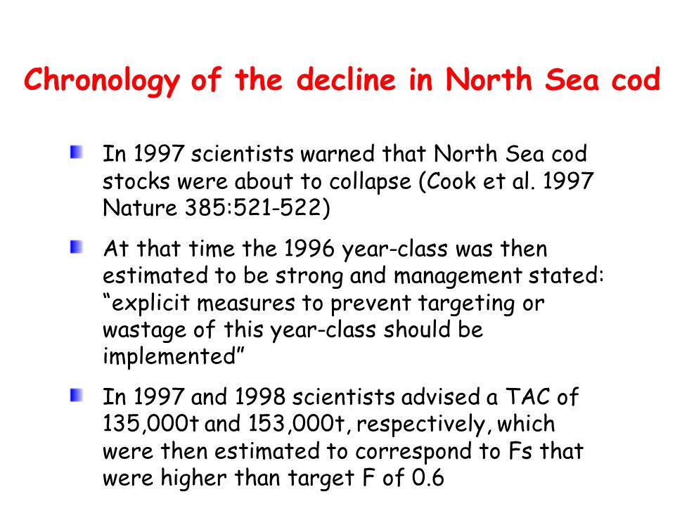 Chronology of the decline in North Sea cod In 1997 scientists warned that North Sea cod stocks were about to collapse (Cook et al. 1997 Nature 385:521