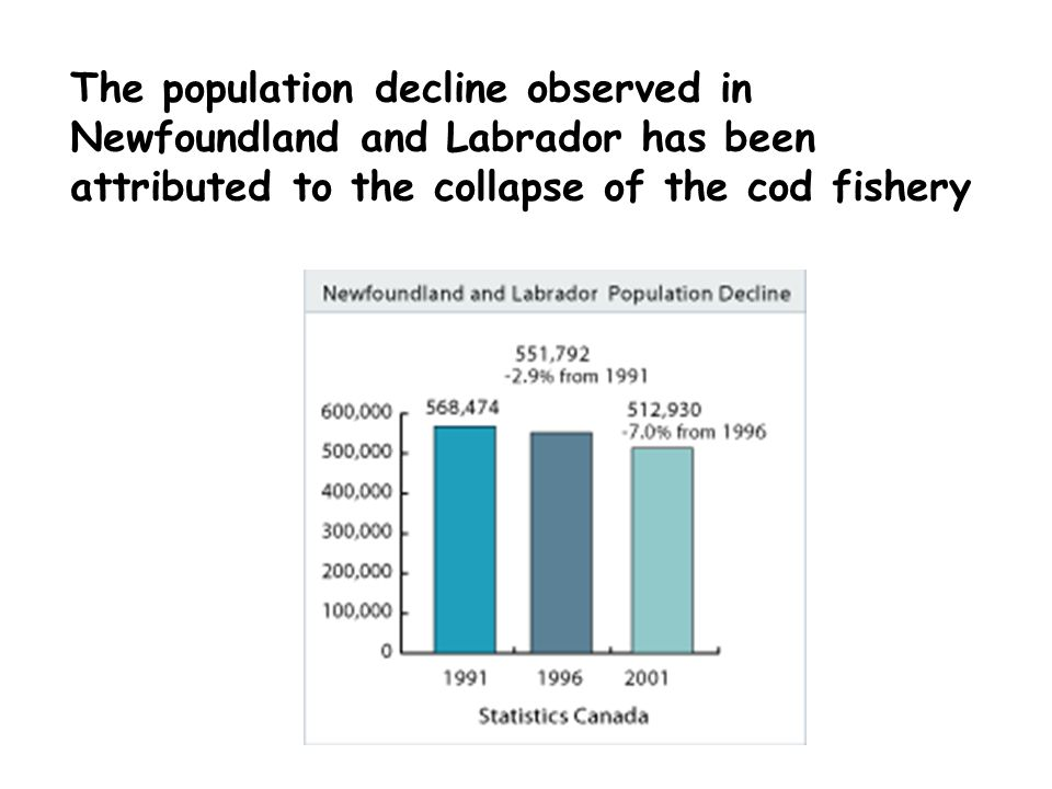 The population decline observed in Newfoundland and Labrador has been attributed to the collapse of the cod fishery