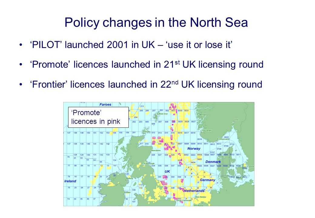 Policy changes in the North Sea PILOT launched 2001 in UK – use it or lose it Promote licences launched in 21 st UK licensing round Frontier licences