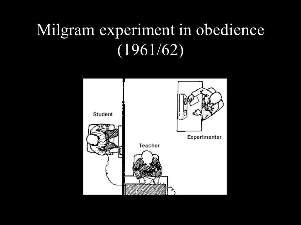 Milgram experiment in obedience (1961/62)