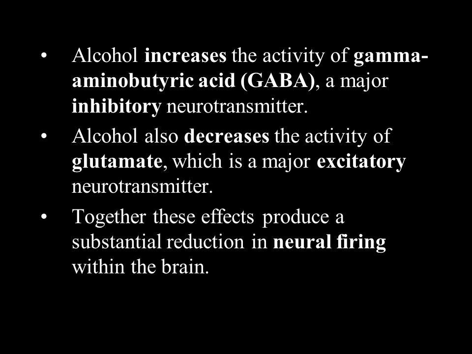 Alcohol increases the activity of gamma- aminobutyric acid (GABA), a major inhibitory neurotransmitter. Alcohol also decreases the activity of glutama