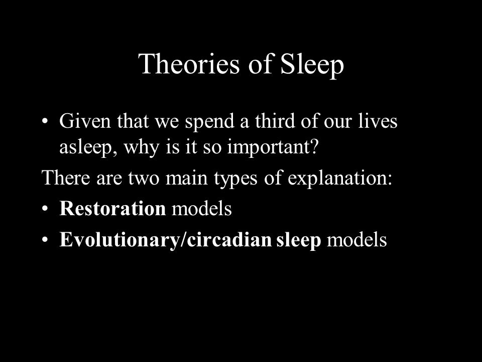 Theories of Sleep Given that we spend a third of our lives asleep, why is it so important? There are two main types of explanation: Restoration models