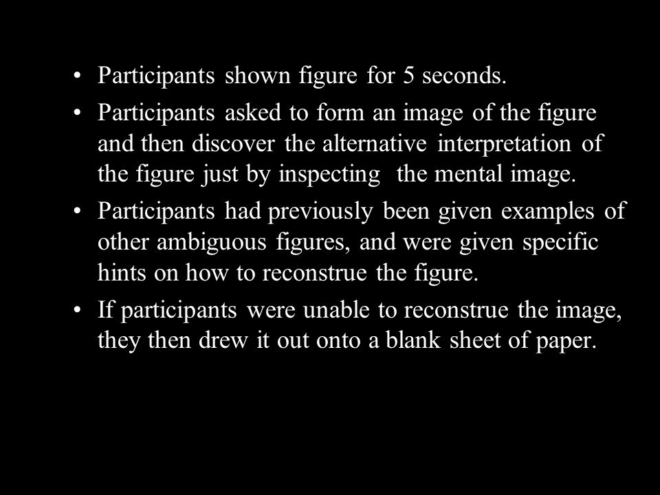 Participants shown figure for 5 seconds. Participants asked to form an image of the figure and then discover the alternative interpretation of the fig