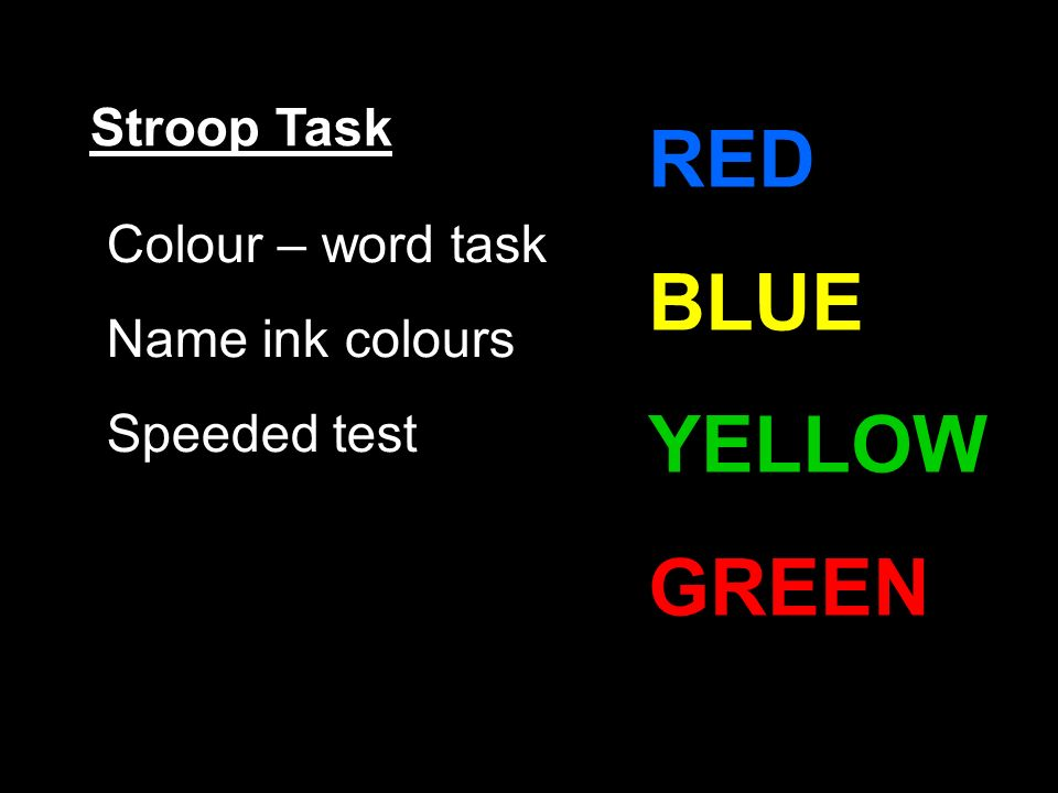 Stroop Task Colour – word task Name ink colours Speeded test RED BLUE YELLOW GREEN