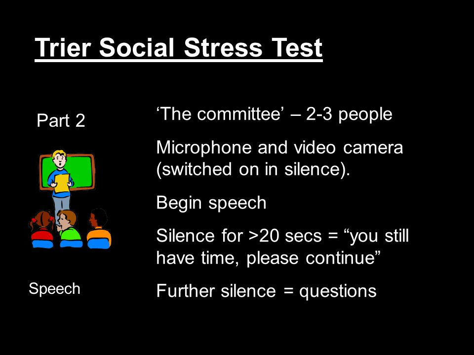 Trier Social Stress Test Part 2 Speech The committee – 2-3 people Microphone and video camera (switched on in silence).