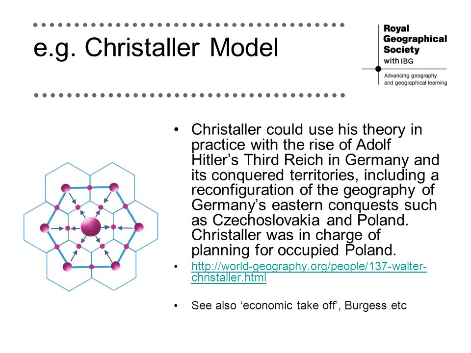 e.g. Christaller Model Christaller could use his theory in practice with the rise of Adolf Hitlers Third Reich in Germany and its conquered territorie