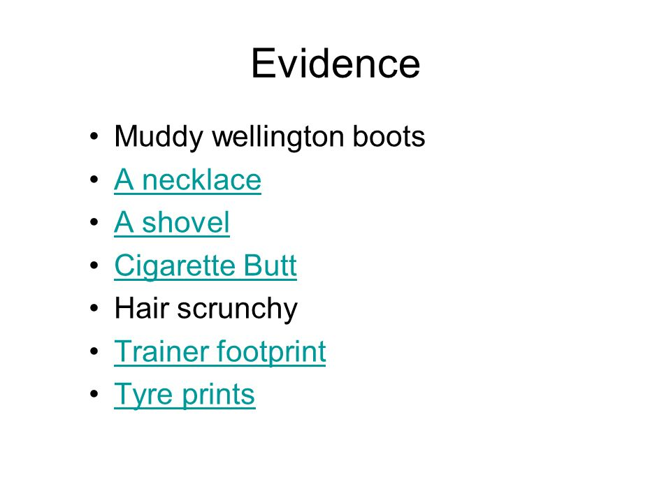 Evidence Muddy wellington boots A necklace A shovel Cigarette Butt Hair scrunchy Trainer footprint Tyre prints