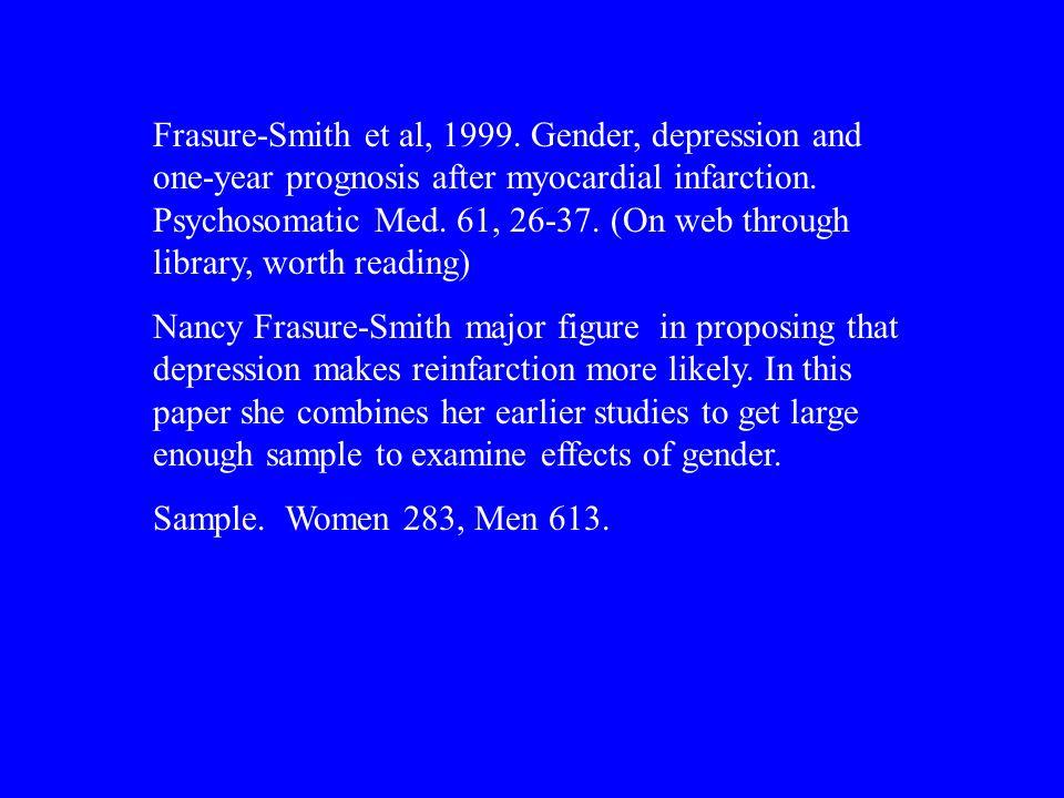 Frasure-Smith et al, 1999. Gender, depression and one-year prognosis after myocardial infarction.