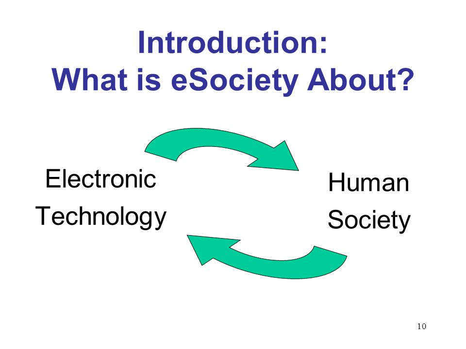 10 Introduction: What is eSociety About Electronic Technology Human Society