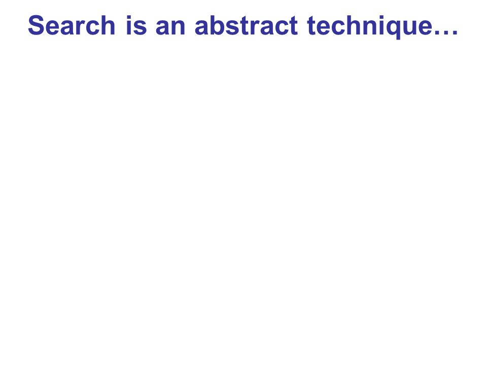 Search is an abstract technique…