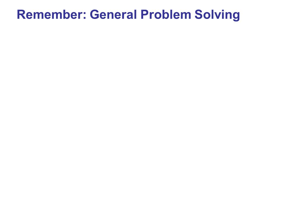 Remember: General Problem Solving