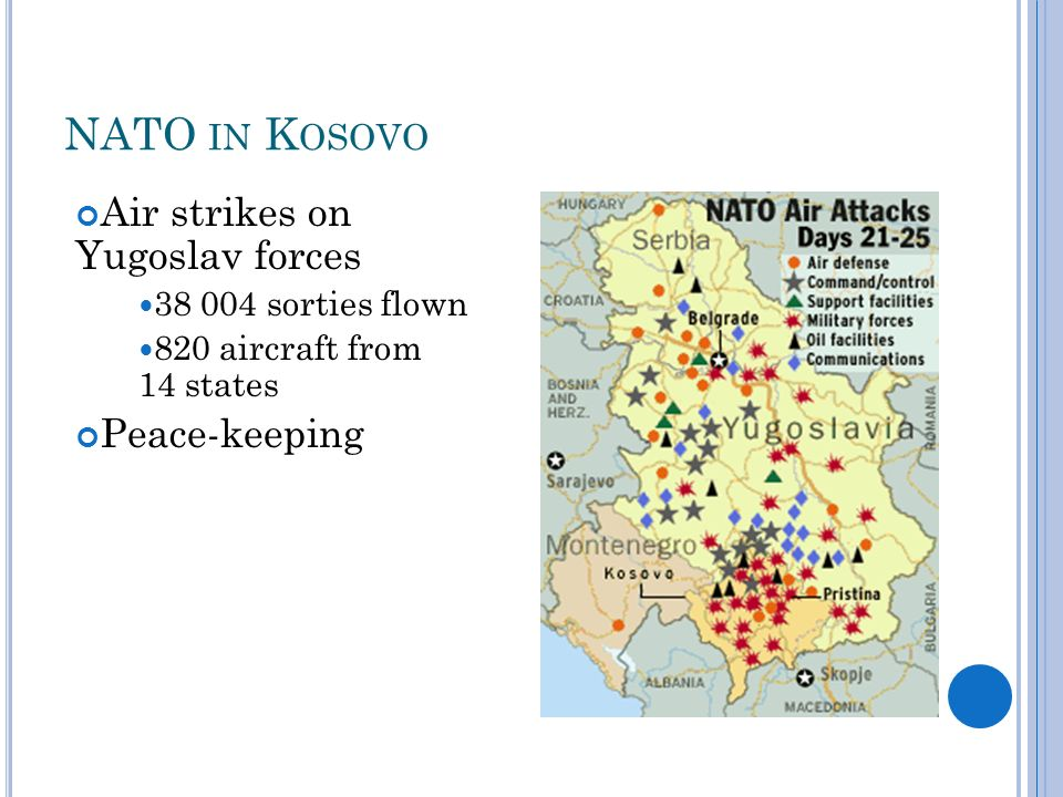 NATO IN K OSOVO Air strikes on Yugoslav forces sorties flown 820 aircraft from 14 states Peace-keeping