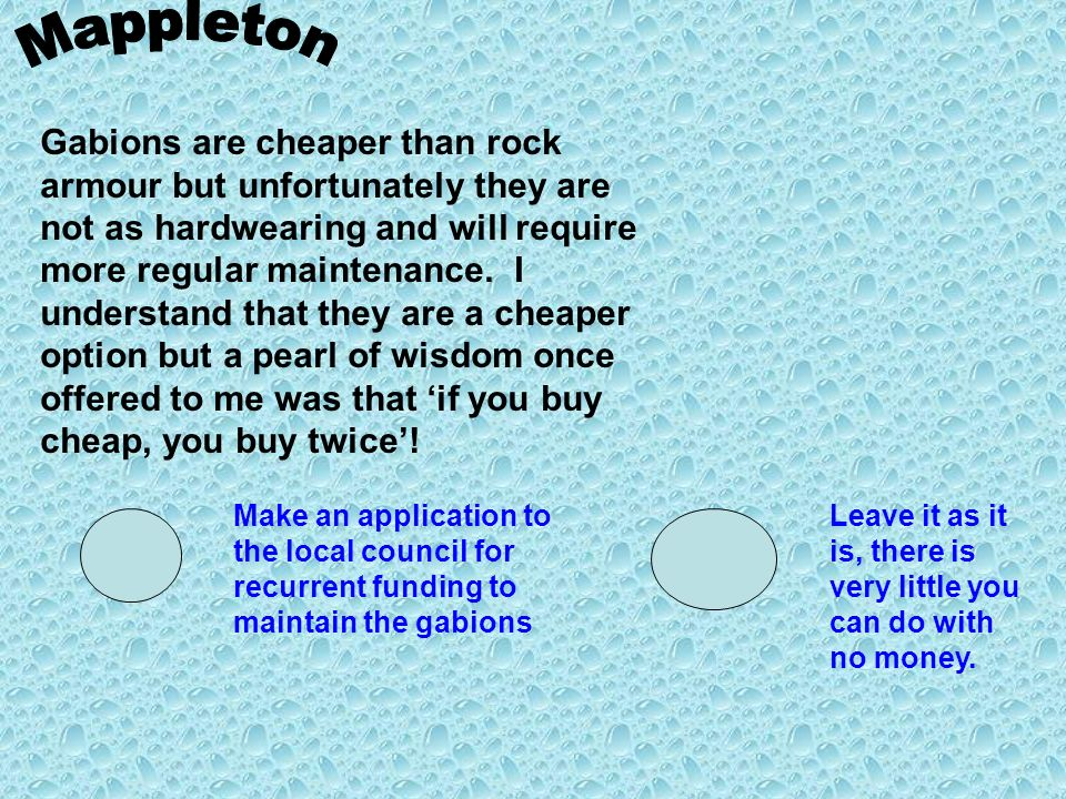 Gabions are cheaper than rock armour but unfortunately they are not as hardwearing and will require more regular maintenance. I understand that they a