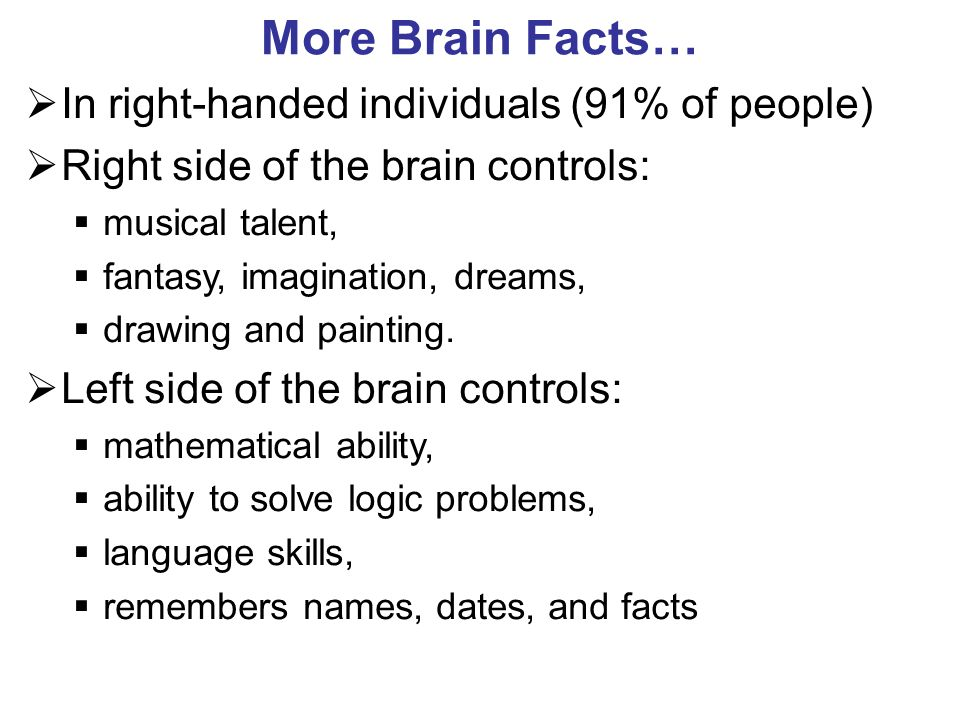 More Brain Facts… In right-handed individuals (91% of people) Right side of the brain controls: musical talent, fantasy, imagination, dreams, drawing and painting.