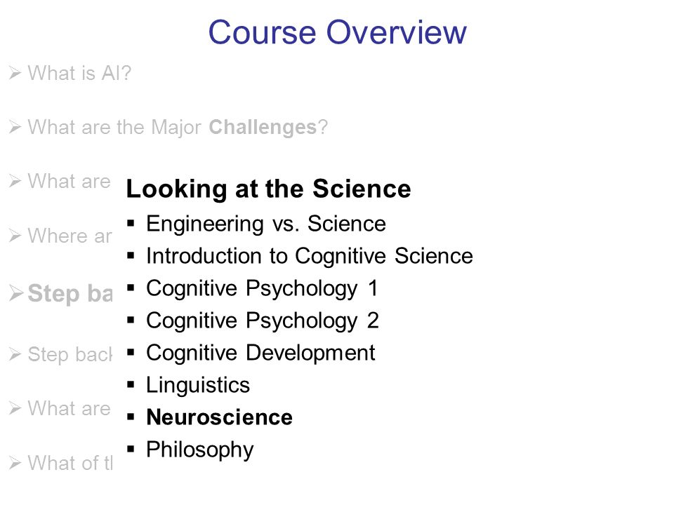 Course Overview What is AI. What are the Major Challenges.