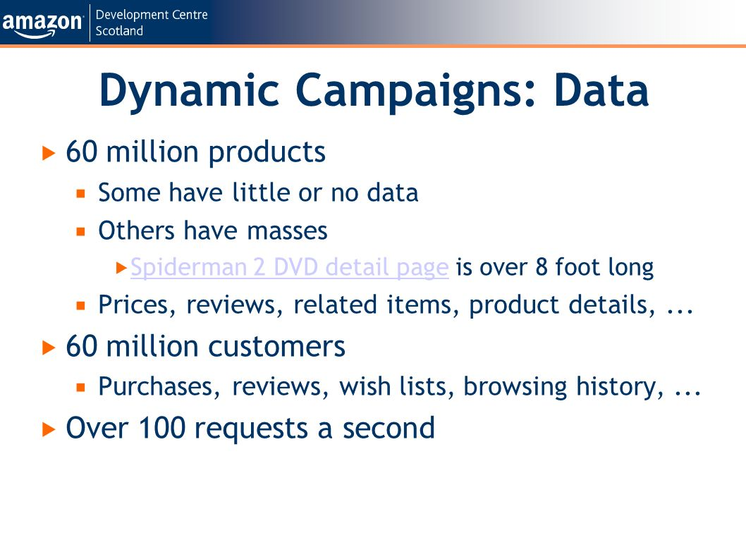 Dynamic Campaigns: Data 60 million products Some have little or no data Others have masses Spiderman 2 DVD detail page is over 8 foot long Spiderman 2 DVD detail page Prices, reviews, related items, product details,...