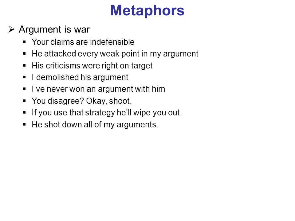 Metaphors Argument is war Your claims are indefensible He attacked every weak point in my argument His criticisms were right on target I demolished hi