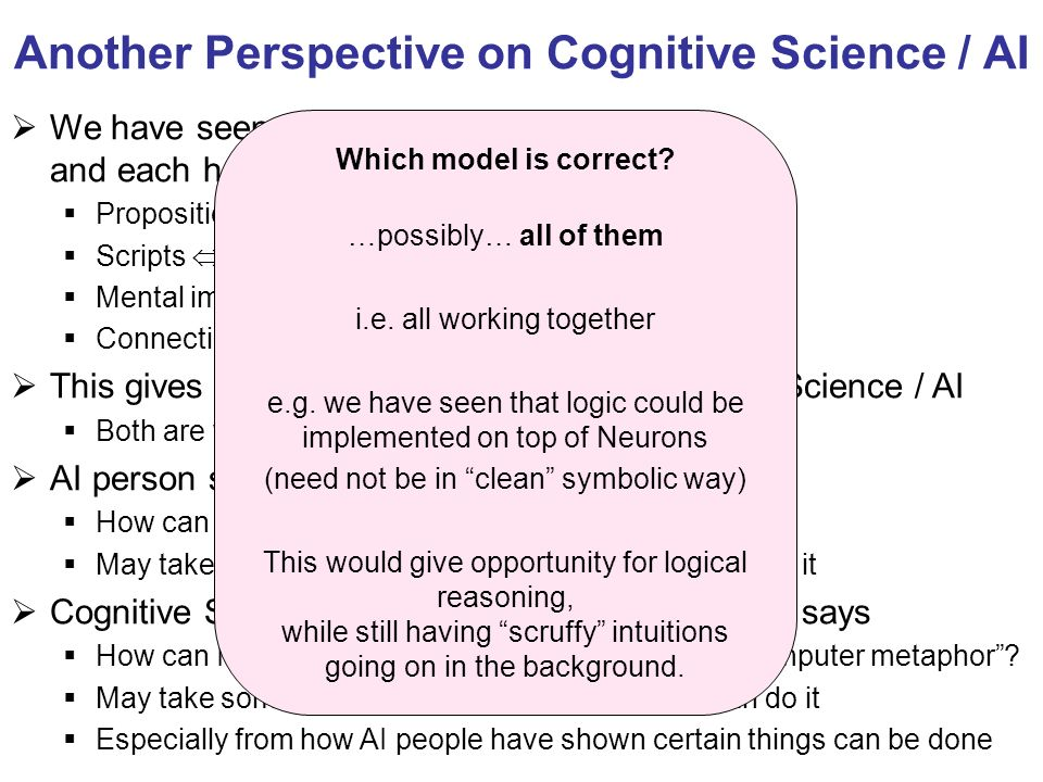 Another Perspective on Cognitive Science / AI We have seen multiple models for the mind, and each has an AI version too Propositions AIs logic stateme