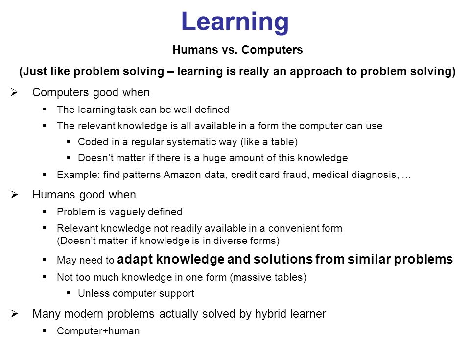 Learning Humans vs.