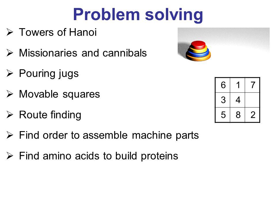 Problem solving Towers of Hanoi Missionaries and cannibals Pouring jugs Movable squares Route finding Find order to assemble machine parts Find amino acids to build proteins 617 34 582