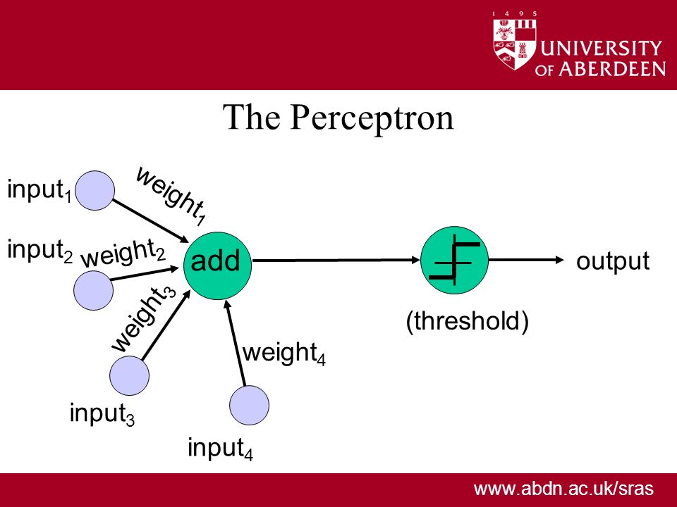 www.abdn.ac.uk/sras The Perceptron add weight 1 output input 1 input 2 input 3 input 4 weight 4 (threshold) weight 2 weight 3
