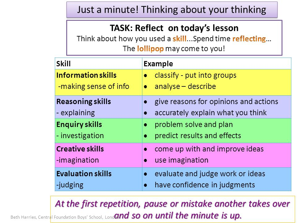 Just a minute! Thinking about your thinking SkillExample Information skills -making sense of info classify - put into groups analyse – describe Reason