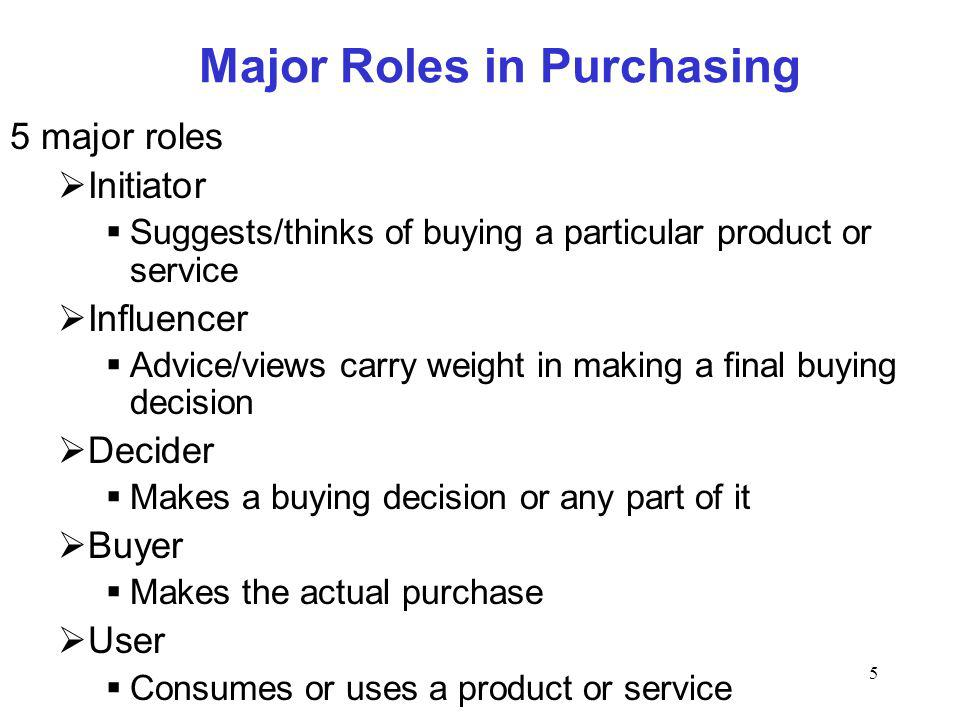 5 Major Roles in Purchasing 5 major roles Initiator Suggests/thinks of buying a particular product or service Influencer Advice/views carry weight in making a final buying decision Decider Makes a buying decision or any part of it Buyer Makes the actual purchase User Consumes or uses a product or service